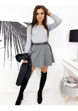 Dámska mini sukňa s kockovaným vzorom v čierno-bielej farbe