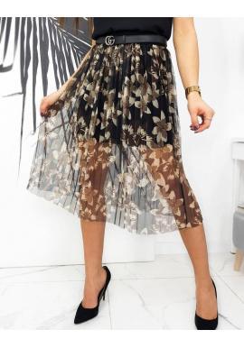 Dámska tylová sukňa s kvetmi v čiernej farbe