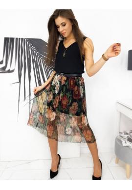 Tylová dámska sukňa čiernej farby s kvetmi