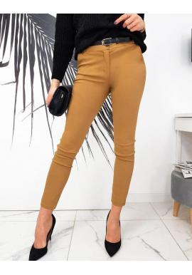 Elegantné dámske nohavice svetlohnedej farby s opaskom