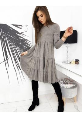 Oversize dámske šaty sivej farby s dlhým rukávom