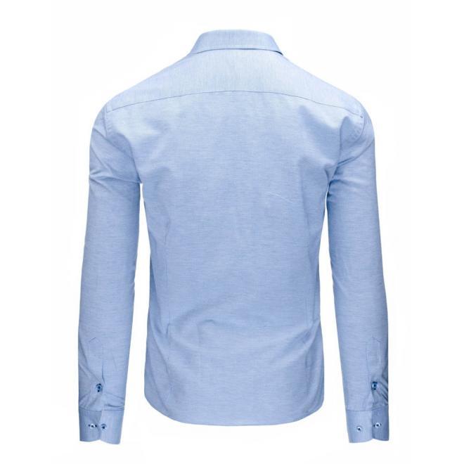 Elegantná modrá košeľa pre pánov so vzorom