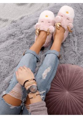 Dámske kožušinové papuče so sobom v ružovej farbe