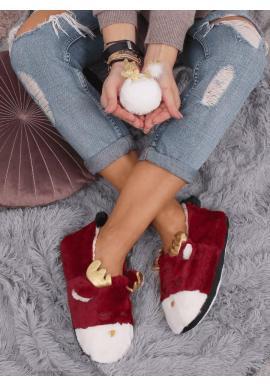 Dámske kožušinové papuče so sobom v bordovej farbe