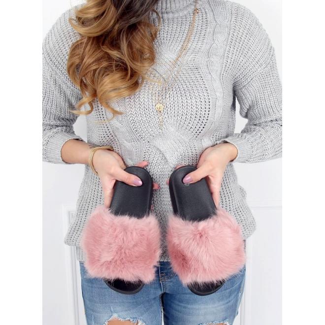 Dámske módne šľapky s kožušinou v ružovej farbe