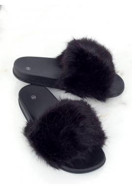 Dámske módne šľapky s kožušinou v čiernej farbe