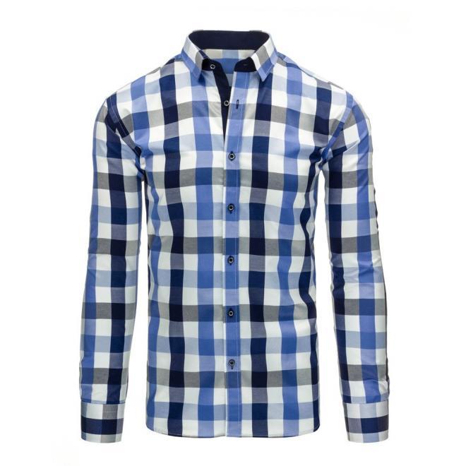 Pánska kockovaná košeľa v modro-tyrkysovej farbe