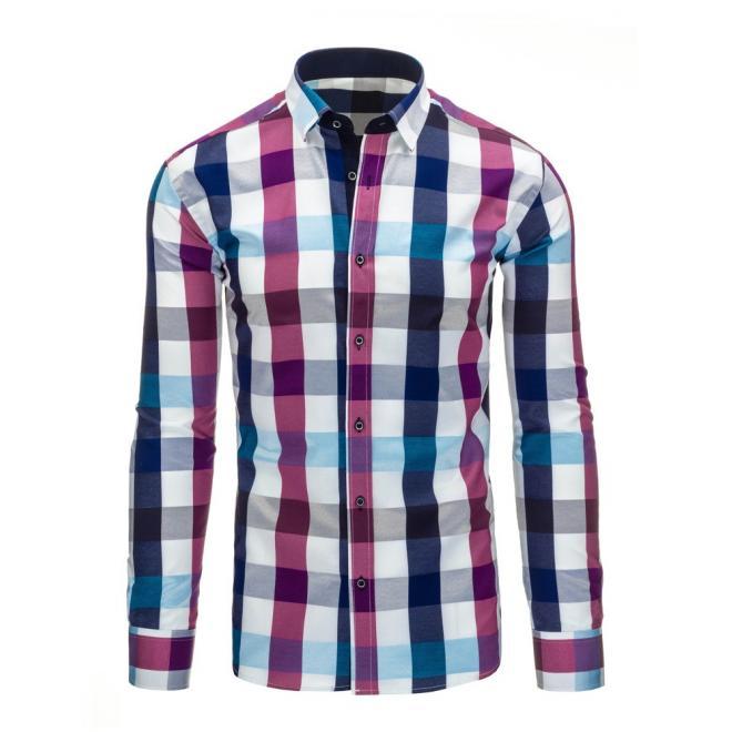 Kockovaná košeľa modro-bielej farby pre pánov
