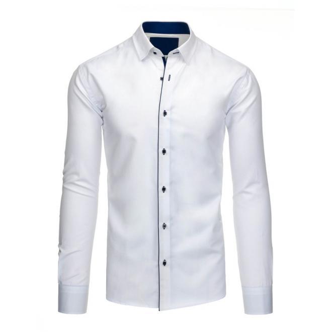 Biela elegantná košeľa pre pánov s dlhým rukávom