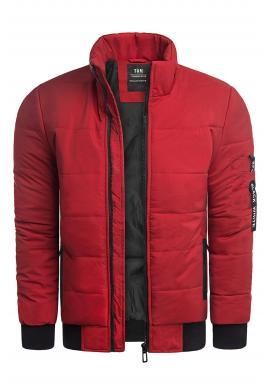 Pánska zimná bunda s prešívaním v červenej farbe