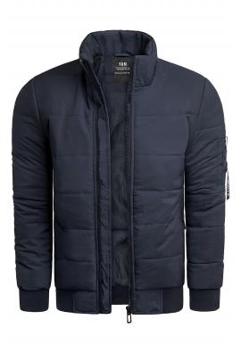 Zimná pánska bunda tmavomodrej farby s prešívaním