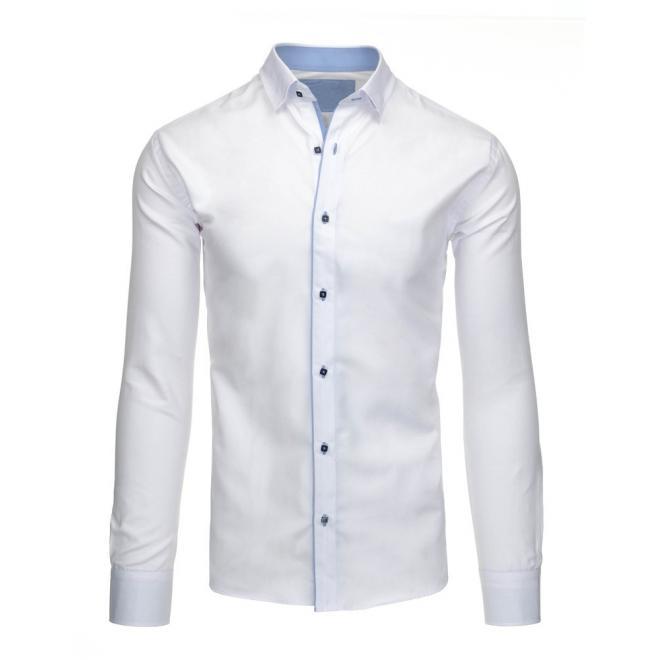 Košeľa v bielej farbe s dlhým rukávom pre pánov