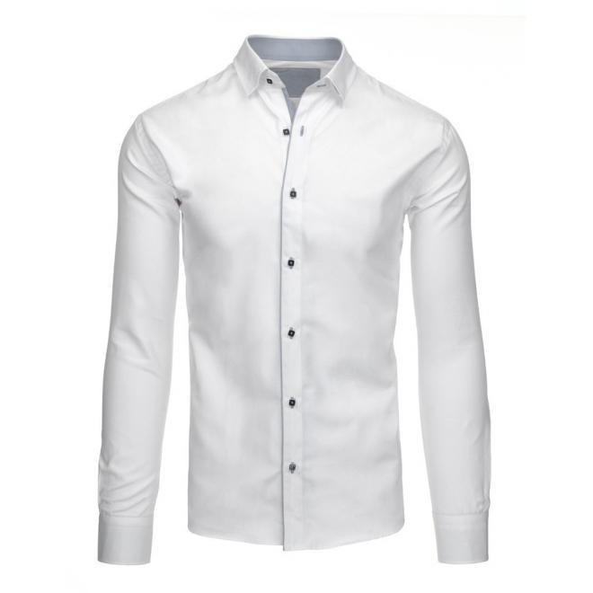 Biela elegantná košeľa so svetlomodrým pásom