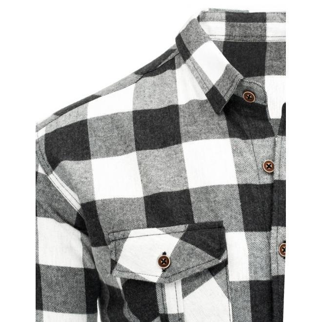 Kockovaná pánska košeľa v modro-čiernej farbe