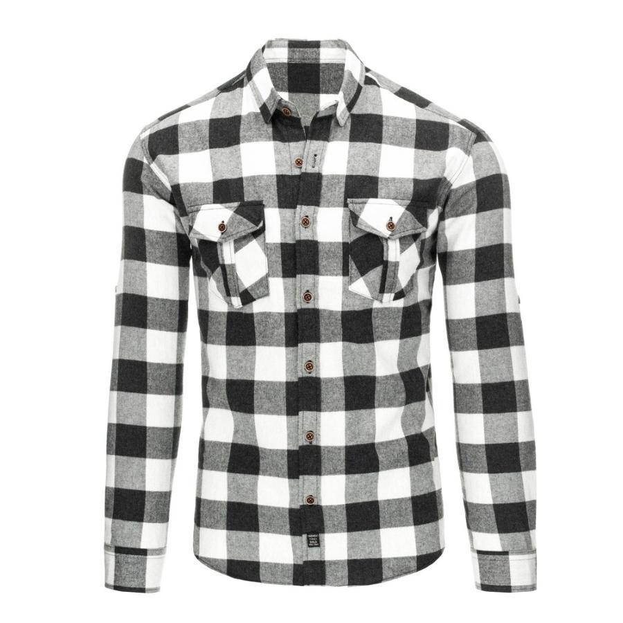 4f03272973bb Košeľa s kockovaným vzorom v čierno-bielej farbe - skvelamoda.sk
