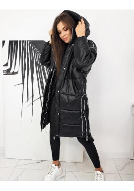 Dámska dlhá oversize bunda s kapucňou v čiernej farbe