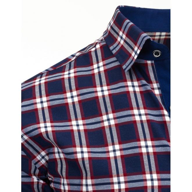 Červeno-čierna kockovaná košeľa s dlhým rukávom