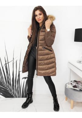Dámska prešívaná bunda na zimu v hnedej farbe