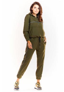 Dámska módna súprava s trblietavým pásom v kaki farbe