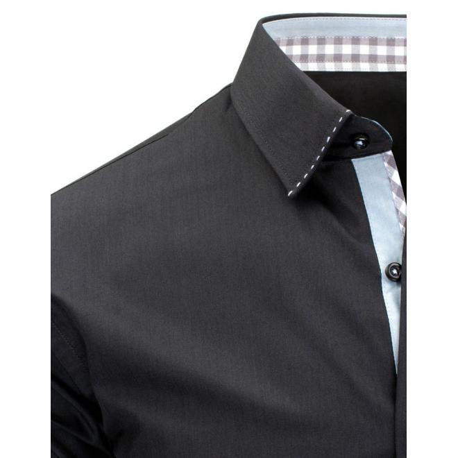 Košeľa modrej farby s károvaným detailom