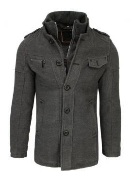 Sivý jednoradový kabát pre pánov
