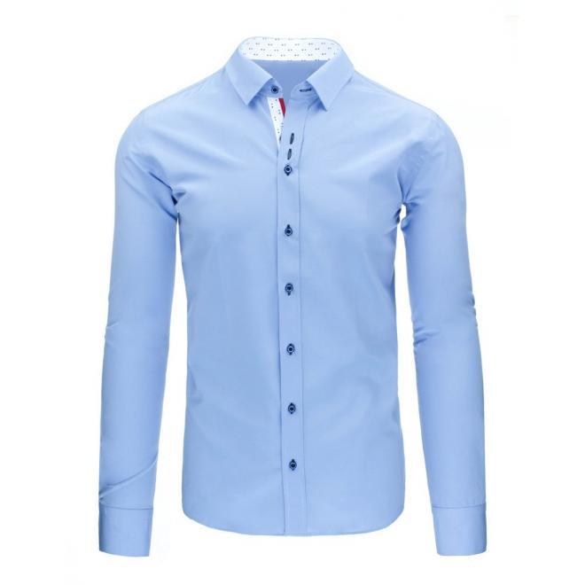 Elegantná košeľa modrej farby s károvaným detailom