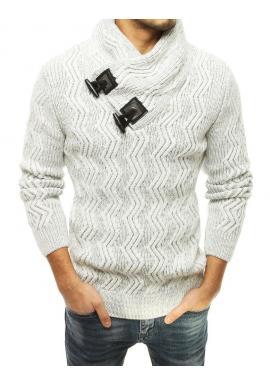 Pánsky hrubý sveter s vysokým golierom v bielej farbe