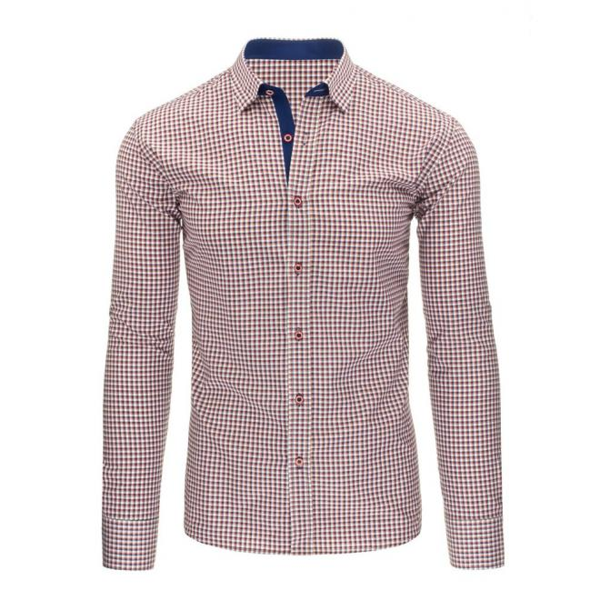 Károvaná pánska košeľa modrej farby s dlhým rukávom