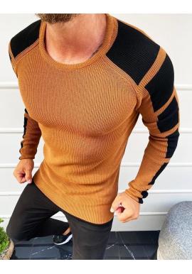 Pánsky módny sveter s kontrastnými prvkami v hnedej farbe