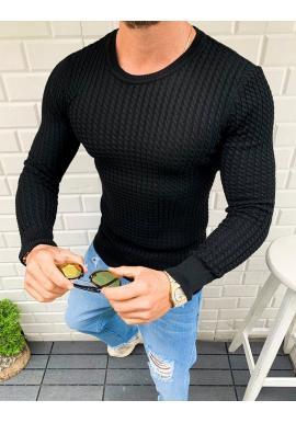Vzorovaný pánsky sveter čiernej farby s okrúhlym výstrihom
