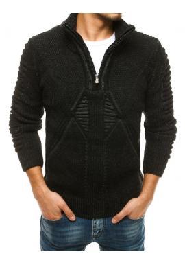 Vlnený pánsky sveter čiernej farby so zapínaným golierom