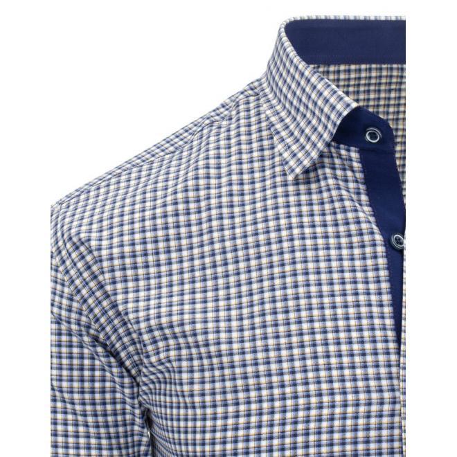 Kockovaná košeľa v červeno-modrej farbe pre pánov