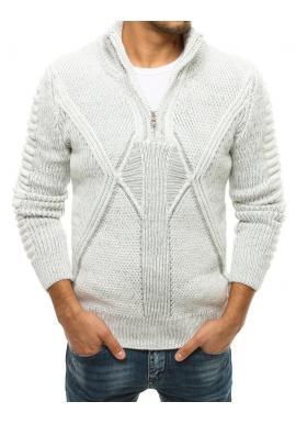 Biely vlnený sveter so zapínaným golierom pre pánov