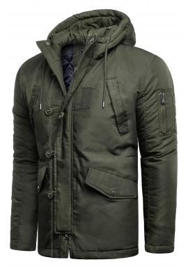 Zimná pánska bunda kaki farby s kapucňou
