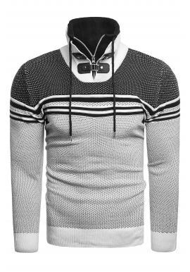 Pánsky vzorovaný sveter so zapínaným golierom v bielej farbe