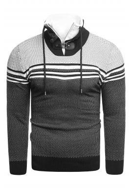 Vzorovaný pánsky sveter čiernej farby so zapínaným golierom