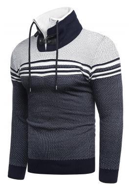 Tmavomodrý vzorovaný sveter so zapínaným golierom pre pánov