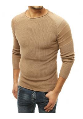 Béžový módny sveter s okrúhlym výstrihom pre pánov