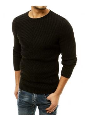 Čierny klasický sveter s okrúhlym výstrihom pre pánov