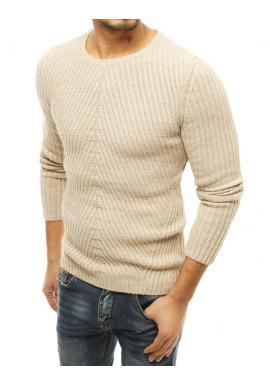 Pánsky klasický sveter s okrúhlym výstrihom v béžovej farbe