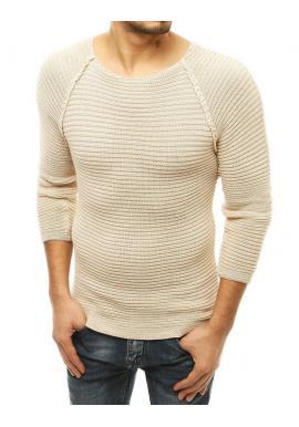 Štýlový pánsky sveter béžovej farby s okrúhlym výstrihom