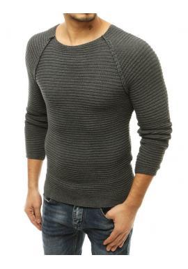 Tmavosivý štýlový sveter s okrúhlym výstrihom pre pánov