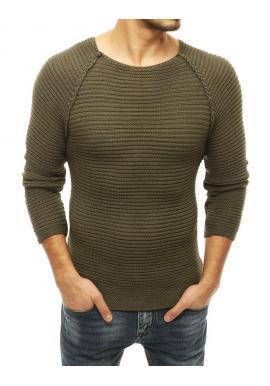 Pánsky štýlový sveter s okrúhlym výstrihom v kaki farbe