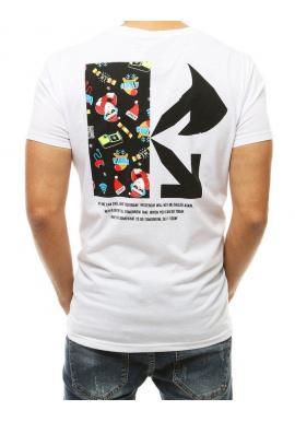 Sviatočné pánske tričko bielej farby s potlačou