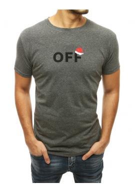 Tmavosivé sviatočné tričko s potlačou pre pánov