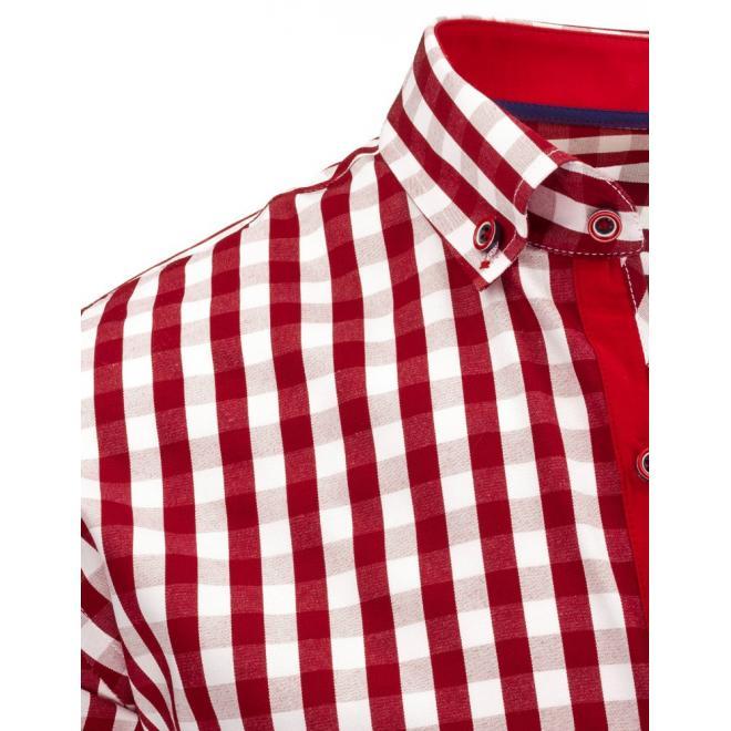 Kockovaná pánska košeľa v červeno-bielej farbe