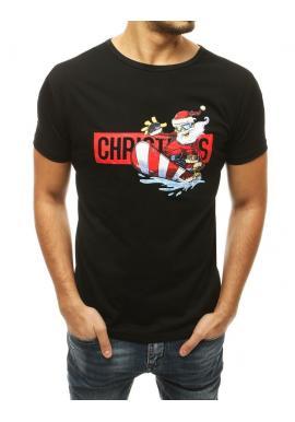 Pánske štýlové tričko s vianočným motívom v čiernej farbe