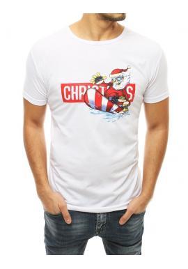 Štýlové pánske tričko bielej farby s vianočným motívom