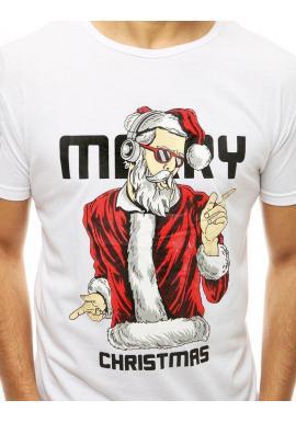 Pánske vianočné tričká s krátkym rukávom v bielej farbe