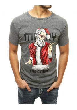 Vianočné pánske tričko tmavosivej farby s krátkym rukávom